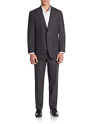 Regular-Fit Wool Windowpane Suit