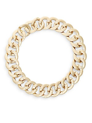 Curb Chain Collar Necklace/Goldtone