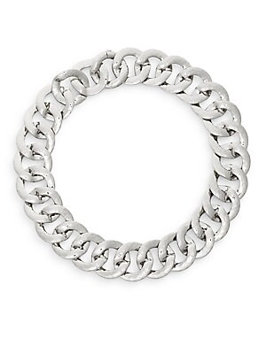 Hammered Chunky Link Collar Necklace/Silvertone
