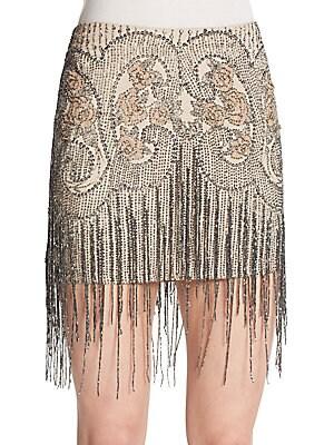 Silk Beaded Fringed Mini Skirt
