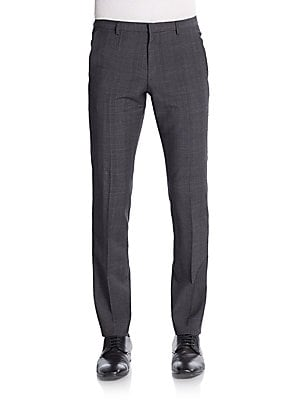Himenshm Plaid Stretch-Wool Pants