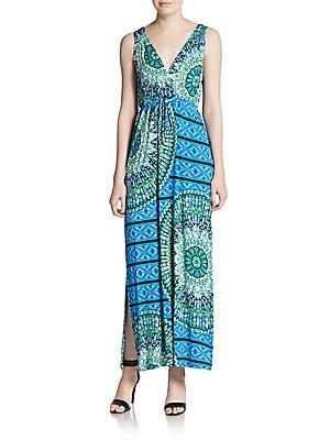 Medallion-Print Sleeveless Maxi Dress