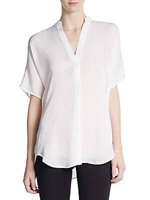 Dolman-Sleeve Silk Blouse