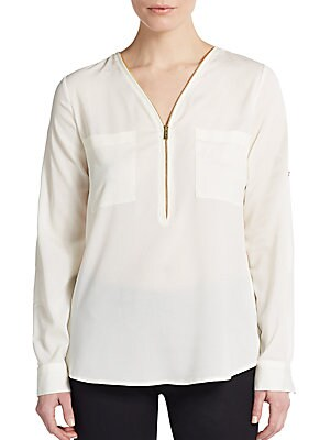Roll-Tab Sleeve Zip-Front Blouse/Blush