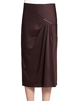 Satin Drape-Front Skirt