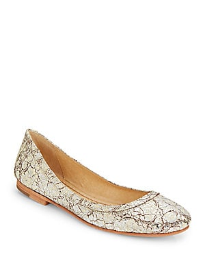 Carson Cracked Metallic Ballet Flats