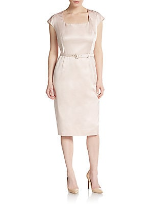 Escada Belted Silk Faille Dress