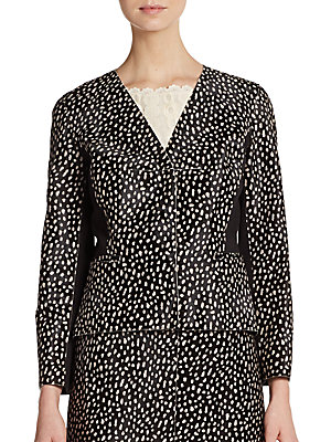 Calf Hair Dot-Print Blazer