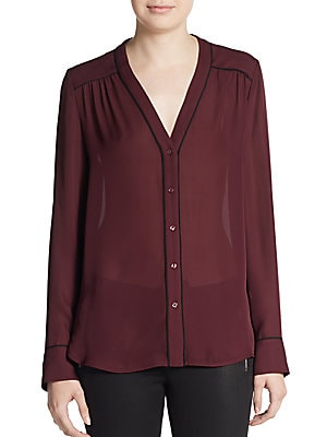 Contrast-Piping Silk Blouse