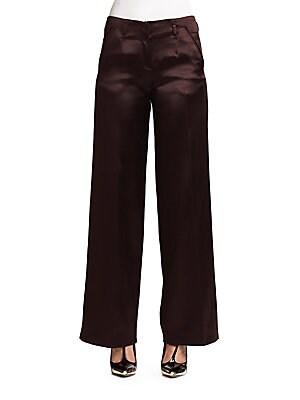 Satin-Finish Silk & Wool Wide-Leg Trousers