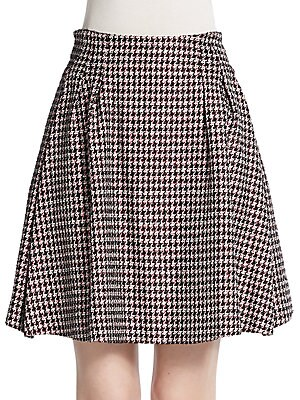 Houndstooth Tweed Skirt