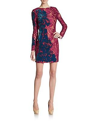 Embroidered Velvet & Lace Circle Back Dress