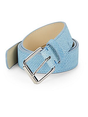 Snake-Embossed Leather Belt