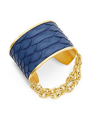 Natalie Python Leather Chain Cuff Bracelet