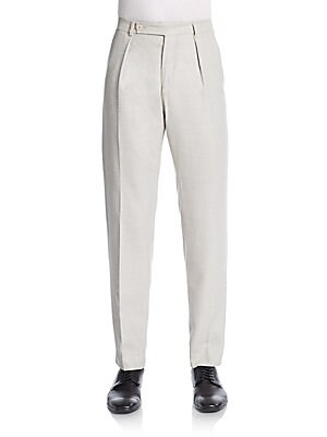 Single-Pleat Virgin Wool Trousers