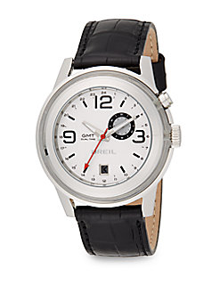 Stainless Steel & Embossed Leather Dual Time Watch/White