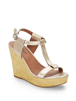 Lovell Metallic Leather Wedge Sandals