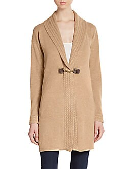 Cable Knit-Trimmed Cashmere Cardigan