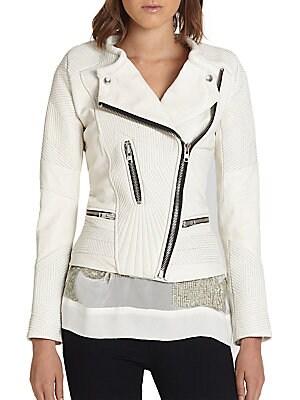 Efia Stitched Leather Moto Jacket