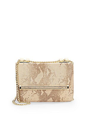Snake-Embossed Leather Shoulder Bag