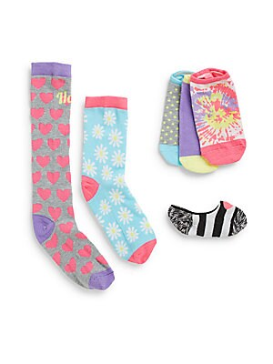 Little Girl's & Girl's Happy Heart Assorted Sock Set