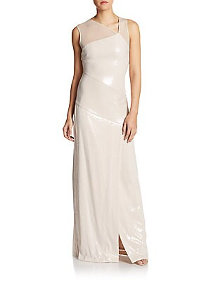 Sequined Asymmetrical Illusion Top Gown