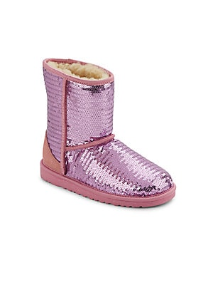 Girl's Classic Short Sparkles Shearling Boots