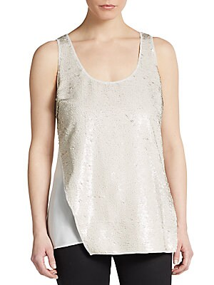 Crest Asymmetrical Sequined-Overlay Top