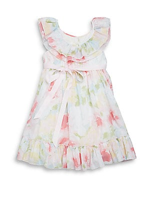 Toddler's & Little Girl's Watercolor Floral-Print Ruffle Dress