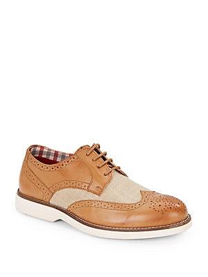 Ronnie Leather & Textile Wingtip Saddle Shoes