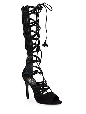Zoneide Lace-Up Strappy Suede Boots