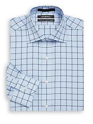 Classic-Fit Windowpane Check Cotton Dress Shirt