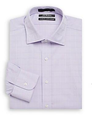 Classic-Fit Tonal Windowpane Cotton Dress Shirt