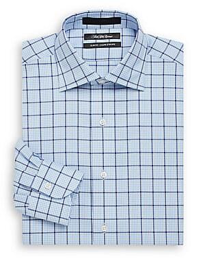 Slim-Fit Windowpane Check Cotton Dress Shirt