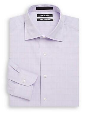 Slim-Fit Tonal Windowpane Cotton Dress Shirt