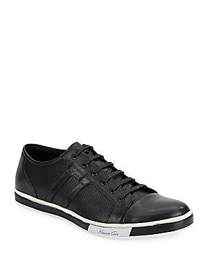 Brand-Width Leather Sneakers
