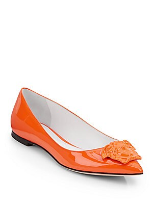 Patent Leather Medusa Point Toe Flats
