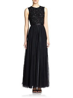 Sequined-Top Mesh Gown