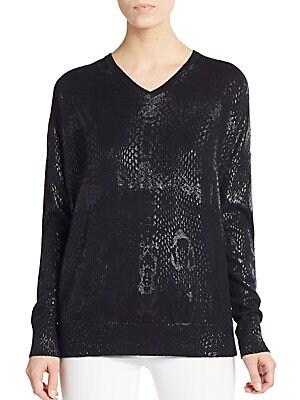 Oversized Foil Cotton & Cashmere Sweater