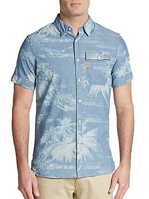 Regular-Fit Palm Tree Cotton Sportshirt