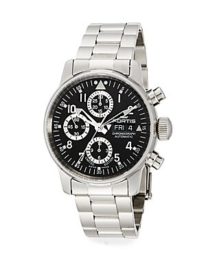 Flieger Stainless Steel Black Chronograph Watch