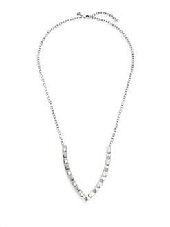 Faux Pearl & Stud V-Pendant Necklace