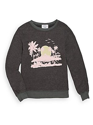 Girl's Pink Island Graphic Sweatshirt