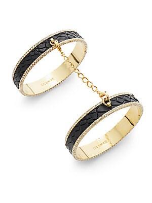 Eternity Pavé Leather Double-Bangle Bracelet