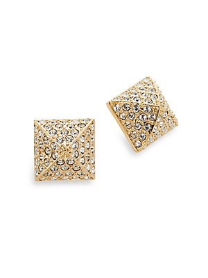 Pavé Pyramid Stud Earrings/Goldtone