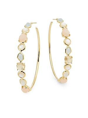 Rock Candy Gelato Semi-Precious Multi-Stone & 18K Yellow Gold Hoop Earrings