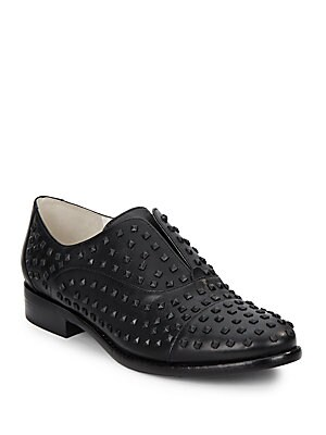 Stackette Studded Leather Slip-On Oxfords