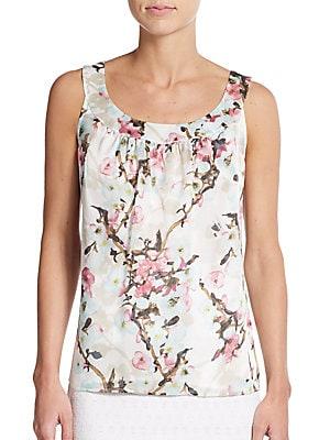 Blossom-Print Silk Tank Top