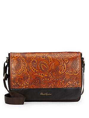Vidal Nylon & Paisley-Embossed Leather Messenger Bag