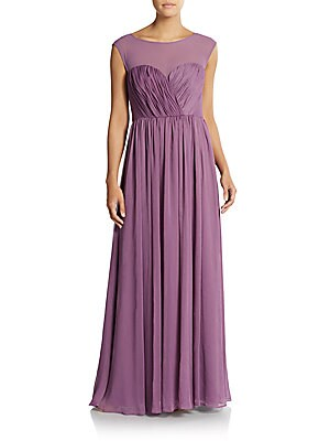 Cap Sleeve Illusion Top Gown